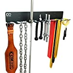 Double Circle Gym Rack Organizer with 12 Hooks, Multi-Purpose Workout Gear Wall Rack Hanger for Home and Pro Gym Storage for Exercise Bands, Barbell Bars, Chains, Lifting Belts (Hardware Included)