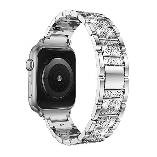 Aottom Compatible for Apple Watch Strap 44mm 42mm Women Diamond Rhinestone Crystal Metal Jewelry Bling Glitter Sport Wristband Bracelet Replacement Strap for 44mm 42mm iWatch Strap Series 5/4/3/2/1