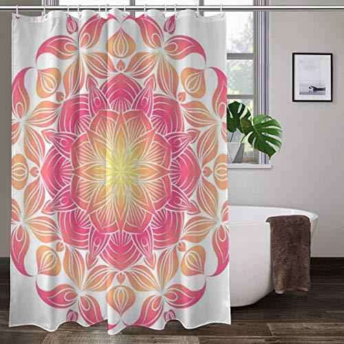 XCBN Rideau de Douche Fleur de Mandala Peint à la Main Noir et Blanc Rideau de Salle de Bain Lavable imperméable géométrique A4 150x180cm