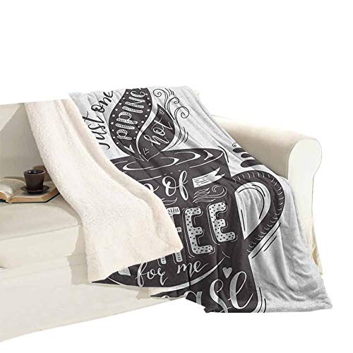 Fleece Blanket Sofa Blanket Hand-Drawn Artistic Lettering on a Coffee Cup Piping Hot Aromatic Beverage Women's Thermal Blankets Plush Microfiber, Suitable for Baby Bed Dark Taupe and White W59 xL31