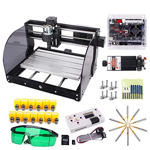 Upgrade CNC 3018 Pro-M 7000mw GRBL Control DIY CNC Engraving Machine with Protected Board, Yofuly 3 Axis PCB PVC Working Area 300x180x45mm (3018-pro with Extension Rod ER11 Collet Set)