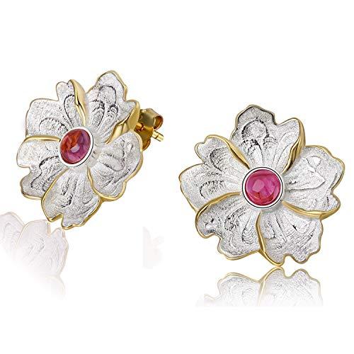 Lotus Fun S925 Sterling Silber Ohrstecker Naturstein Pfingstrose Blume Ohrring Stud Handgemachter Einzigartiger Schmuck für Frauen und Mädchen (Red)