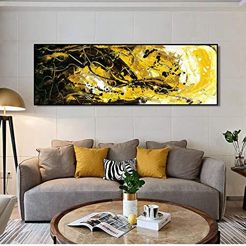 Carteles e impresiones Arte de la pared Pintura en lienzo Resumen Negro y amarillo dorado Imágenes artísticas de pared para la decoración de la sala de estar 20x60cm (8x24in) Sin marco