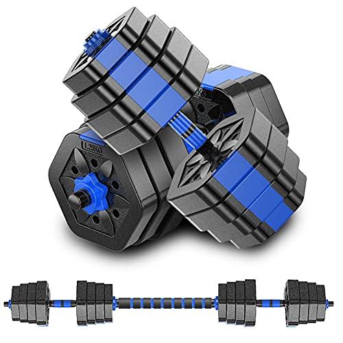 MOJEER ダンベル 可変式【最新進化版・3in1】10kg 20kg 30kg 40kg 2個セット バーベルにもなる ダンベル 無臭素材 静音 008 (15kg×2個セット/ブルー)