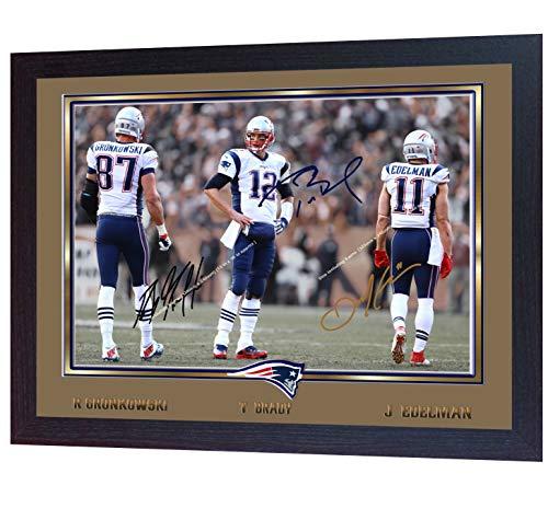S&E DESING Tom Brady ROB Gronkowski Julian Edelman Signed New England Patriots Print Framed