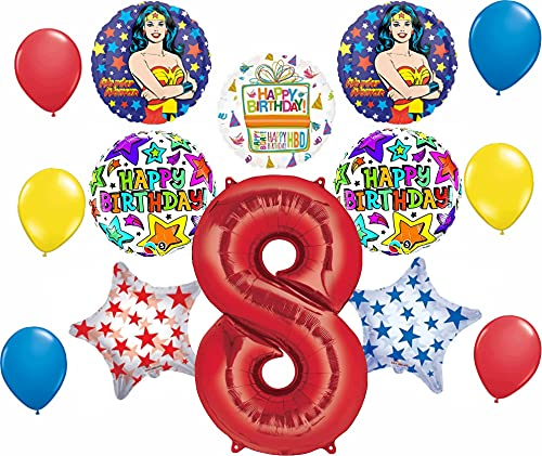 Mayflower Wonder Woman 14 pc Superhero 8th Birthday Party Supplies and Balloon Decorations