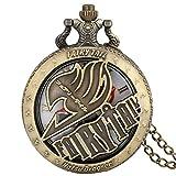 DZX Reloj de Bolsillo de Regalo con patrón de Hadas Animado Vintage para Hombre, Reloj de Bolsillo clásico con Caja de Bronce para Hombre, práctico Reloj Colgante de Cadena de aleación para homb