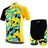 Ateid Children Boys' Girls' Cycling Jersey Set Short Sleeve with 3D Padded Shorts Camouflage Yellow 9-11 Years