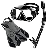 Zenoplige Mask Fins Snorkel Set Adults Men Women, Swim Goggles 180...