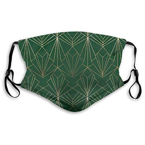 HUIDE Covere Art Deco - Pasamontañas con 2 filtros intercambiables, a prueba de polvo, color verde y dorado
