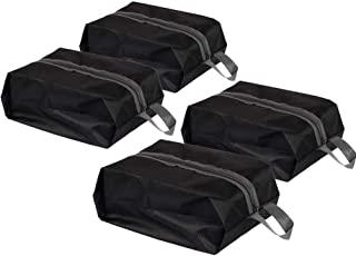 TECHVIDA Shoe Storage Bags, Sturdy Waterproof Nylon Fabric Shoe Bag with Zipper for travel (Pack 4, Black)