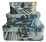 Emartbuy Conjunto de 3 Cajas Rígide de Almacenamiento de Maleta, Estampado de Mármol Dorado Azul