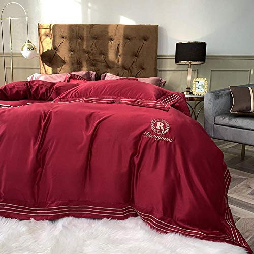 geek cook Bedding Set,Summer quilt cover four-piece ice silk silky nude sleeping summer silk quilt cover hotel style white bedspread 1.8-Red wine_2.0 4pc suit: quilt cover with 2.2 * 2.4