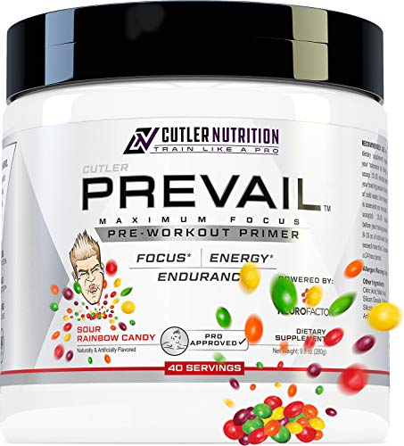 Prevail Pre Workout Powder with Nootropics: Best Pre Workout for Men and Women, Cutting Edge Energy and Focus Supplement with L Citrulline, Alpha GPC, L Tyrosine | Sour Rainbow Candy, 40 Scoops