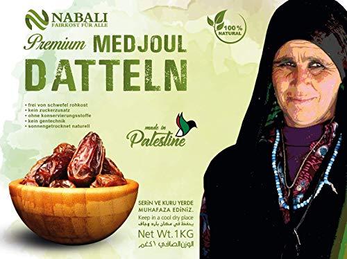NABALI FAIRKOST FÜR ALLE Medjool Medjoul Datteln aus Palästina - 100% naturell vegan aromatisch traditionell frisch & orientalisch I ohne Konservierungsstoffe (1 Kg)
