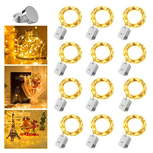 12 Pack Fairy Lights Battery Operated, 3 Modes, Extra 12 Batteries, 7Ft 20 LED Mini String Lights, Waterproof Copper Wire, Twinkle Firefly Lights for Wedding Party Christmas Mason Jars, Warm White
