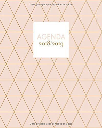 2018-2019: Agenda semana vista para que no olvides nada, 20 x 25 cm, con frases motivadoras, diseño patrón de triángulo (Octubre 2018 - diciembre 2019)