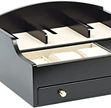 Hudson Park Men's/Women's Valet/Jewelry Box with Drawer & Charging Station for Electronic Devices/Cell Phones