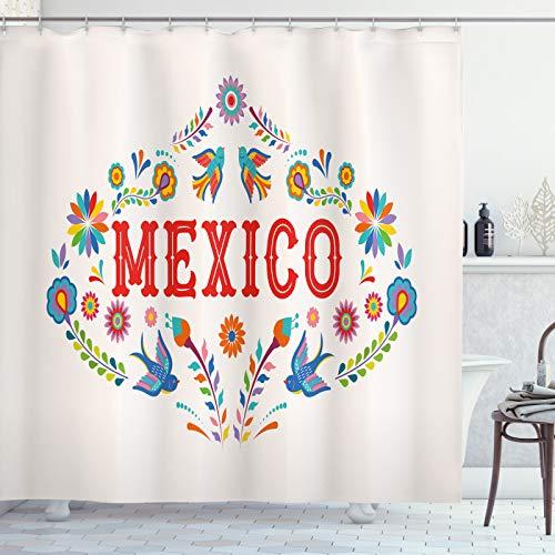 ABAKUHAUS Tag der Toten Duschvorhang, Mexiko Floral, Moderner Digitaldruck mit 12 Haken auf Stoff Wasser & Bakterie Resistent, 175x220 cm, Champagne & Multicolor