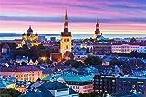 Kits De Taladro De Pintura De Diamante 5D Para Adultos Tallinn Estonia Panorama Noche Ciudad Pegado Bordado Punto De Cruz Artes Artesanía Para La Decoración De La Pared Del Hogar 40x50cm