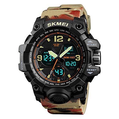 FCXBQ Dual-Display-Elektronische Uhr, Dual-Zeit-Stoppuhr-Alarm-Sport-Multifunktionsuhr,Camouflage