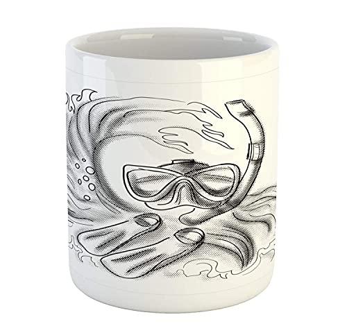 N\A Taza de Buceo, diseño monocromático Dibujado a lápiz de una Obra de Arte submarina de Buceo, Taza de café de cerámica para Bebidas de té de Agua, 11 oz, Gris carbón Gris Blanco