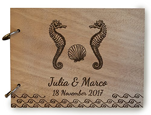 Rustic Seahorse Beach Wedding, Seahorse Couple Gift, Seahorse Guest Book, Shell Nautical Guest Book, Nautical Wedding, Destination Wedding, Nautical Decoration.