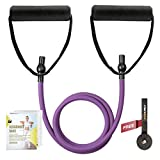 RitFit Single Resistance Exercise Band with Comfortable Handles - Ideal for Physical Therapy, Strength Training, Muscle Toning - Foam Padding Door Anchor and Starter Guide Included (Purple(15-20lbs))