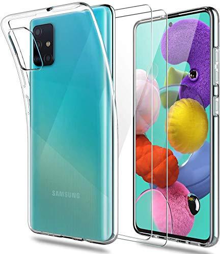 iLieber Klar Silikon Hülle Kompatibel mit Samsung Galaxy A51 Handyhülle, und Panzerglas Set, TPU Flexible Silikonhülle [ dünn Klarhülle], Schutzfolie Glas 9H Folie [ 2 Stück], Transparent