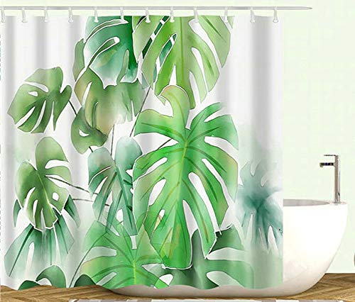 CiCiDi Tropical Shower Curtain Plants Green Leaves Botanical Bathroom Shower Curtains Waterproof...