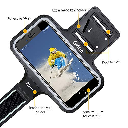 """Gritin Running Armband for iPhone SE 2020/11/11 Pro/XS/XR/X/8/7/6 Plus, Skin-Friendly Sweatproof Sports Running Armband with Key and Headphone Slot for Phones up to 6.1""""- Perfect for Jogging, Gym"""
