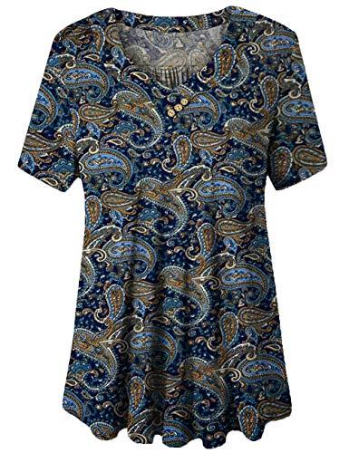 FOLUNSI Plus Size Summer Shirts Blouses V Neck Tunic Tops for Women 02 2XL