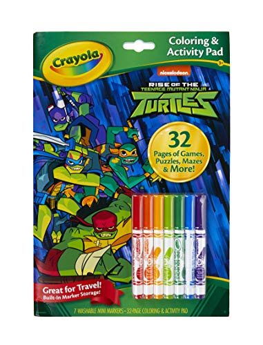 Crayola Teenage Mutant Ninja Turtles Coloring Book with Activities, 32 Pages & 7 Markers, Gift for Kids, Multi