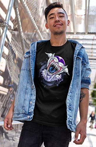 OKIWOKI T-Shirt Noir Dragon Ball Z - Alien parodique Freezer : La Naissance d'un Alien. (Parodie Dragon Ball Z - Alien)
