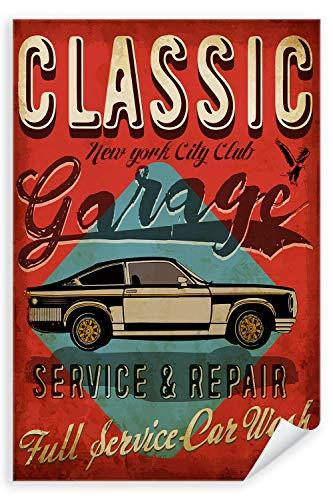 Postereck - Poster 2037 - Vintage Plakat, Auto Schild Retro alt Werkstatt Wagen Größe 3:2-61.0 cm x 40.5 cm