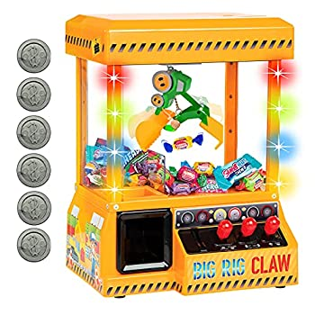 Bundaloo Big Rig Claw Machine Arcade Game - Miniature Candy Grabber for Kids - Electronic Prize Mini Toys Dispenser with Sound - Cool & Fun Party Game for Children  with Lights & Volume Control