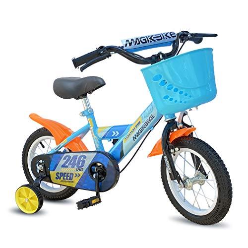 Mediawave Store - Bicicletta per Bambino Colore Blu con Cestino e Rotelle di Supporto Smontabili, Bici per Bambini, Sella Regolabile, Ruote Gonfiabili, Freni Anteriori e Posteriori, MAGIC (Taglia 12)
