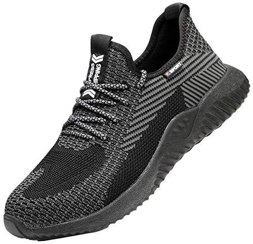 Zapatos de Seguridad para Hombres Zapatos de Acero con Punta de Seguridad,Zapatillas Deportivas Ligeras e Industriales Transpirables, 605 Black 40