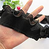 2 Yard 2-Layer Elastic Pleated Chiffon Lace Ruffle Trim Gathered Ribbon Trimming Fabric Embroidered Applique Sewing Craft Wedding Bridal Dress Embellishment Party Clothes Decoration 7CM Wide (Black)