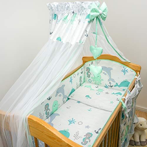 Parure de lit bébé 10 pièces avec tour de lit pour berceau 140 x 70 cm