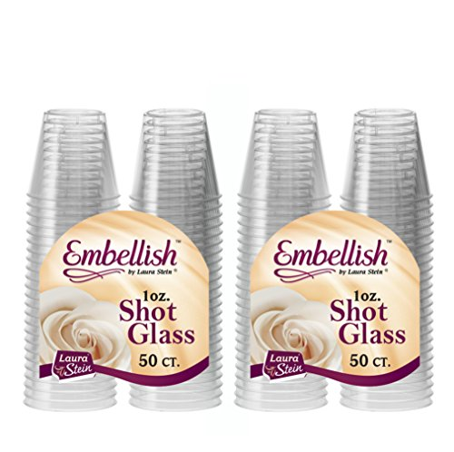 [100 Count] Embellish, 1 oz Crystal Clear Disposable Hard Plastic Shot Glass, Great for Whiskey, Jello, Shots, Tasting, Sauce, Dips, Samples, Perfect For Home, Bar, Parties, or Receptions
