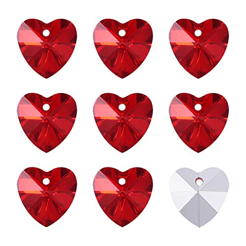 Craftdady 100Pcs Faceted Red Heart Glass Pendants 14x14mm Electroplated Love Heart Bead Charms with Silver Back for Jewelry Making Hole 1mm