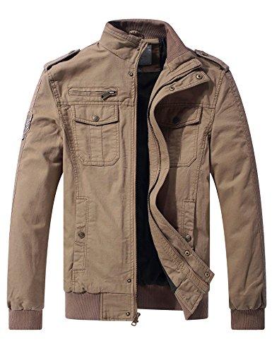 WenVen Herren Leicht Outdoor Jacke Lässige Freizeit Windjacke Klassisch Militär Jacke Reißverschluss Windbreaker Mantel Kahki-1 XL