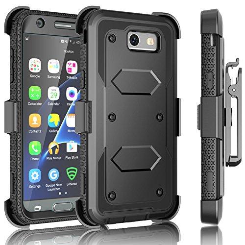 J3 Emerge Prime Schutzhülle, für Samsung Galaxy Mission Eclipse Express 2 Amp Luna Pro Holsterclip, Tekcoo [Tshell Black] Verschlussgürtel [integrierter Display] Kickstand Cover