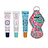 Smith's Rosebud Salve, Lip Balm and Lip Balm Holder Keychain Bundle - Natural Lip Care Moisturizer, All-Purpose and Case for Teens, Women and Men (Rosebud Salve, Minted Rose and Rose & Mandarin)