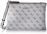 Guess Maci Mini Double Zip Crossbody, femme, Gris (White), 24.5x17x4 cm (W x H L)
