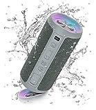 Ortizan Altavoz Bluetooth Potente Portatil X10P Gris con Luz LED de Color Hay Volumen Alto y Graves Potentes, Batería Grande 2600mAh Apoya Reproducción de Música 30H, Bluetooth 5.0 y IPX7 Impermeable