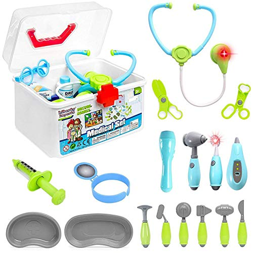 Liberty Imports Medical Doctor Set for Kids - 24 Pieces Role Play Doctor or Nurse Medical Box Kit with Electronic Stethoscope and Pretend Play Accessories