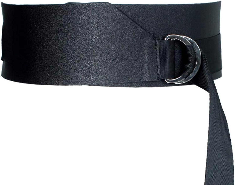 Ladies Belt Women's Adjustable Stretch Wide Belt Dress Decoration Leather Streamer Ring Buckle