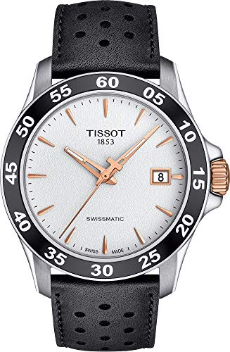 Tissot Men's V8 Swissmatic 316L Stainless Steel case with Rose Gold PVD Coating Swiss Automatic Watch with Leather Strap, Black, 22 (Model: T1064072603100)